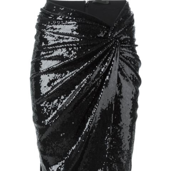a0e391fc13 Donna Karan Ruched Twist Detail Sequin Skirt